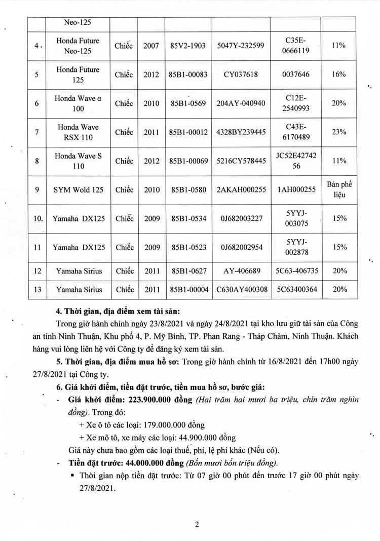 Ngày 30/8/2021, đấu giá lô phương tiện giao thông thanh lý tại tỉnh Ninh Thuận ảnh 3