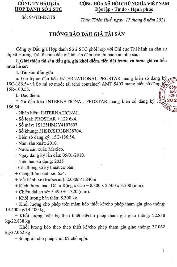 Ngày 30/8/2021, đấu giá xe đầu kéo và sơ mi rơ moóc tải tại tỉnh Thừa Thiên Huế ảnh 2