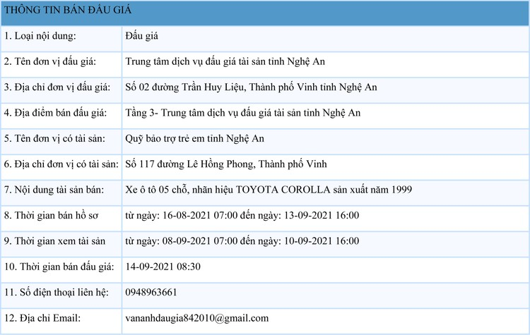Ngày 14/9/2021, đấu giá xe ô tô TOYOTA COROLLA tại tỉnh Nghệ An ảnh 1