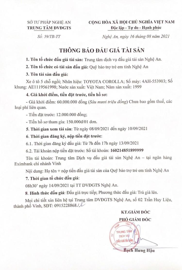 Ngày 14/9/2021, đấu giá xe ô tô TOYOTA COROLLA tại tỉnh Nghệ An ảnh 2