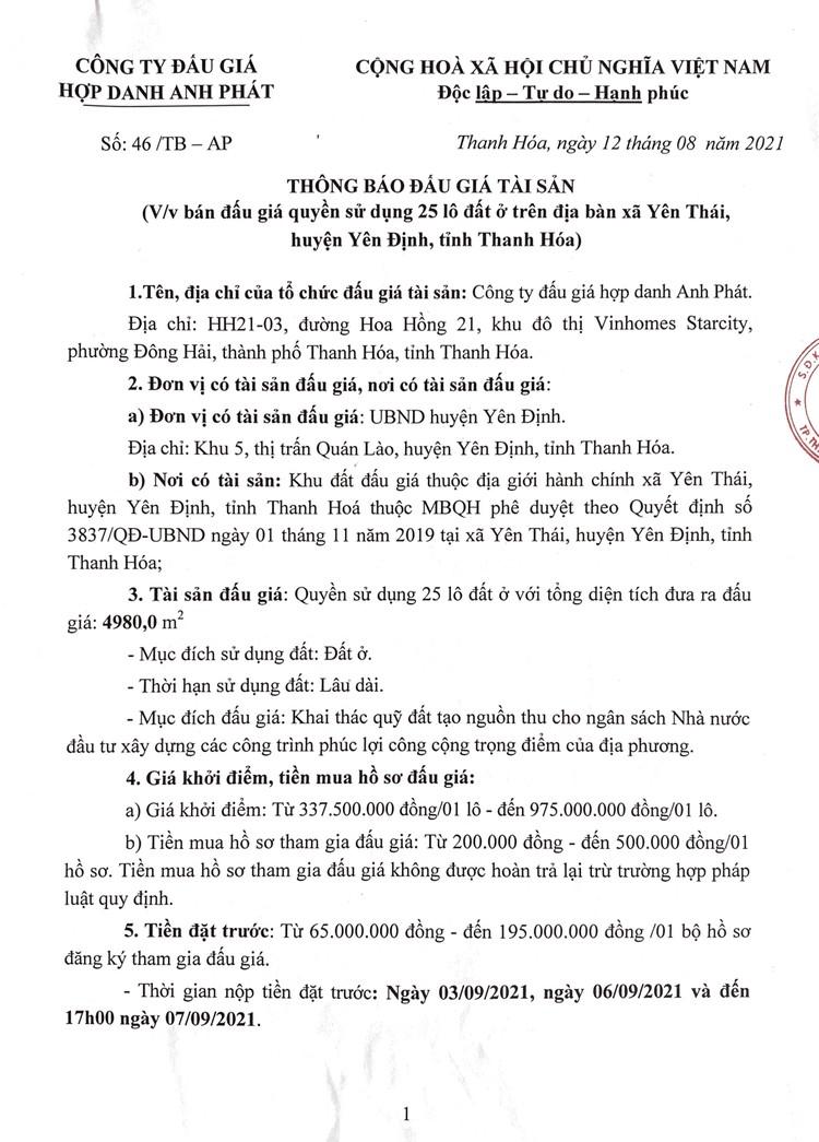 Ngày 8/9/2021, đấu giá quyền sử dụng 25 lô đất tại huyện Yên Định, tỉnh Thanh Hóa ảnh 2