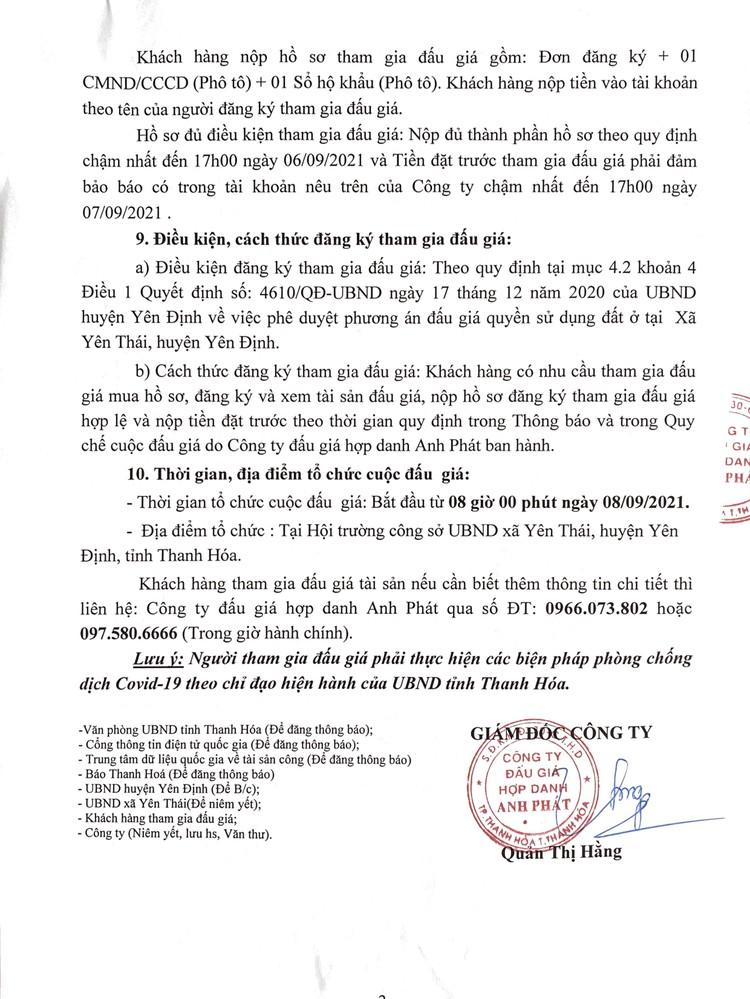 Ngày 8/9/2021, đấu giá quyền sử dụng 25 lô đất tại huyện Yên Định, tỉnh Thanh Hóa ảnh 4