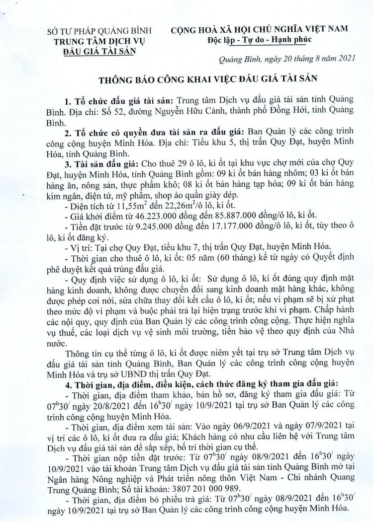Ngày 13/9/2021, đấu giá cho thuê 29 ô lô, ki ốt tại chợ Quy Đạt, tỉnh Quảng Bình ảnh 2