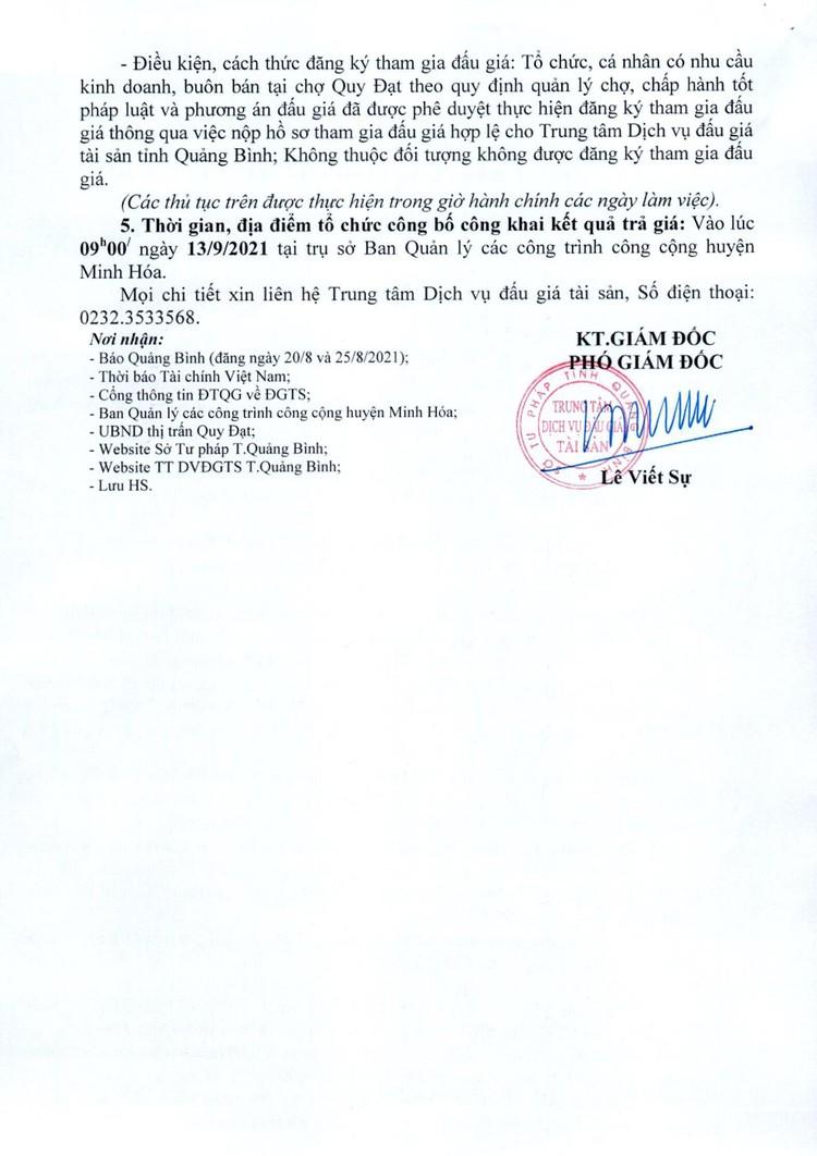 Ngày 13/9/2021, đấu giá cho thuê 29 ô lô, ki ốt tại chợ Quy Đạt, tỉnh Quảng Bình ảnh 3