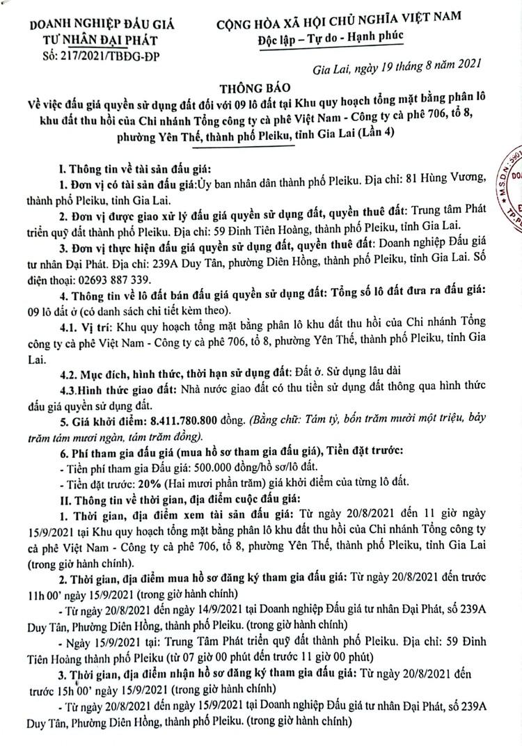 Ngày 18/9/2021, đấu giá quyền sử dụng 9 lô đất tại thành phố Pleiku, tỉnh Gia Lai ảnh 2