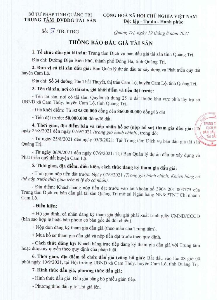 Ngày 10/9/2021, đấu giá quyền sử dụng 25 lô đất tại huyện Cam Lộ, tỉnh Quảng Trị ảnh 2
