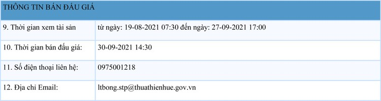 Ngày 30/9/2021, đấu giá quyền sử dụng đất tại thành phố Huế, tỉnh Thừa Thiên Huế ảnh 2