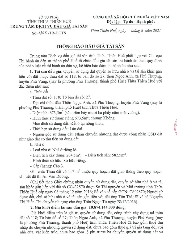 Ngày 30/9/2021, đấu giá quyền sử dụng đất tại thành phố Huế, tỉnh Thừa Thiên Huế ảnh 3