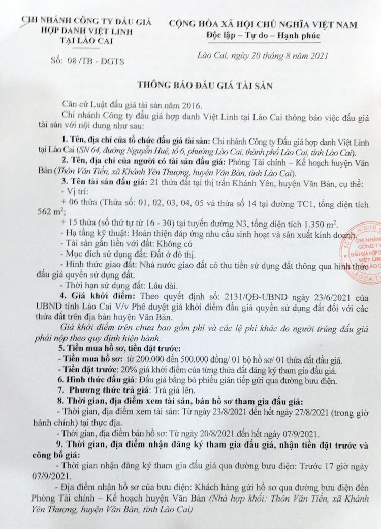 Ngày 10/9/2021, đấu giá quyền sử dụng 21 thửa đất tại huyện Văn Bàn, tỉnh Lào Cai ảnh 2