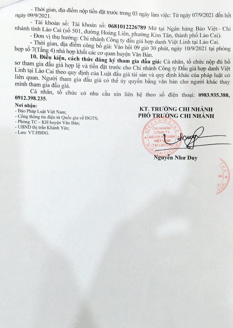 Ngày 10/9/2021, đấu giá quyền sử dụng 21 thửa đất tại huyện Văn Bàn, tỉnh Lào Cai ảnh 3