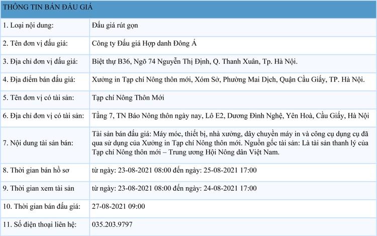 Ngày 27/8/2021, đấu giá máy móc, thiết bị, nhà xưởng, dây chuyền máy in tại Hà Nội ảnh 1