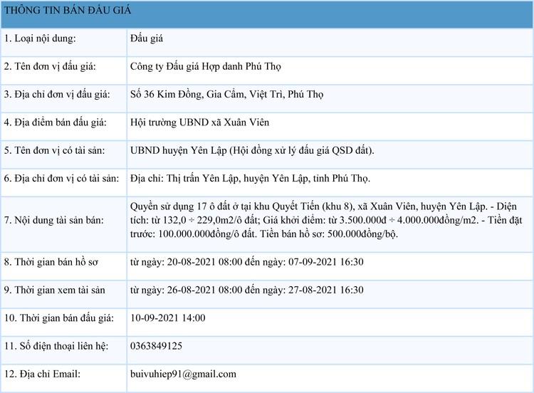 Ngày 10/9/2021, đấu giá quyền sử dụng 17 ô đất tại huyện Yên Lập, tỉnh Phú Thọ ảnh 1