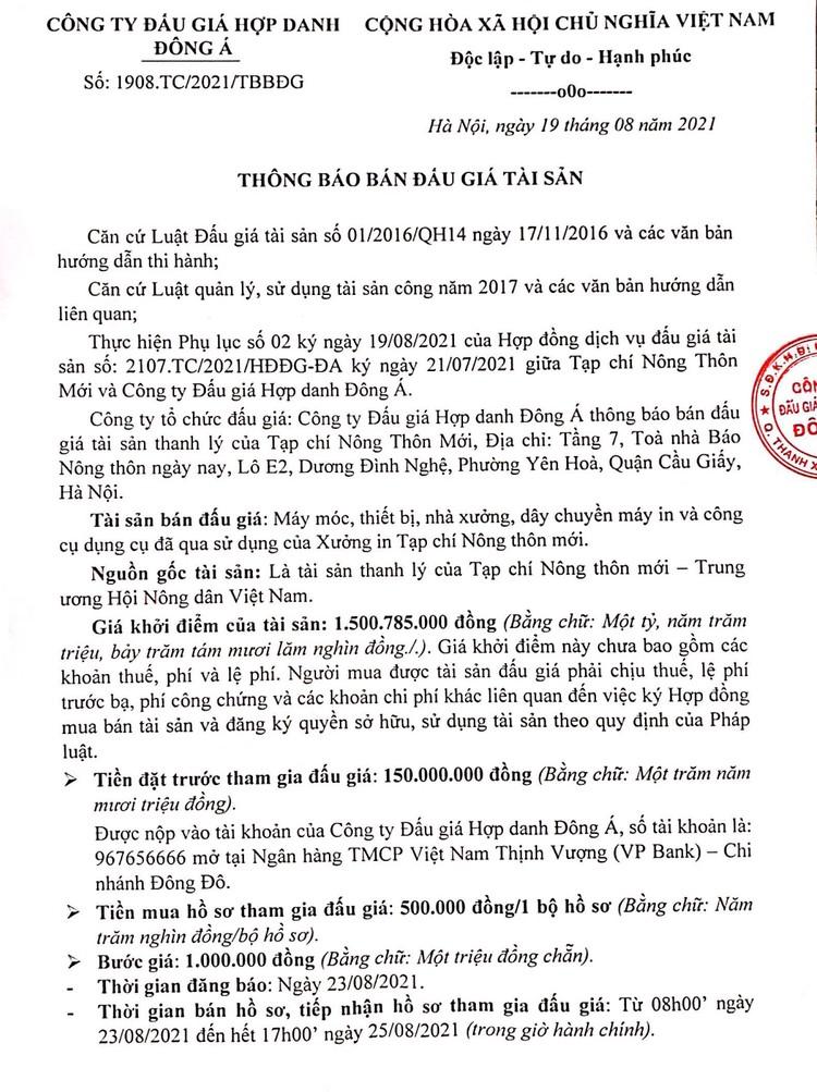 Ngày 27/8/2021, đấu giá máy móc, thiết bị, nhà xưởng, dây chuyền máy in tại Hà Nội ảnh 3