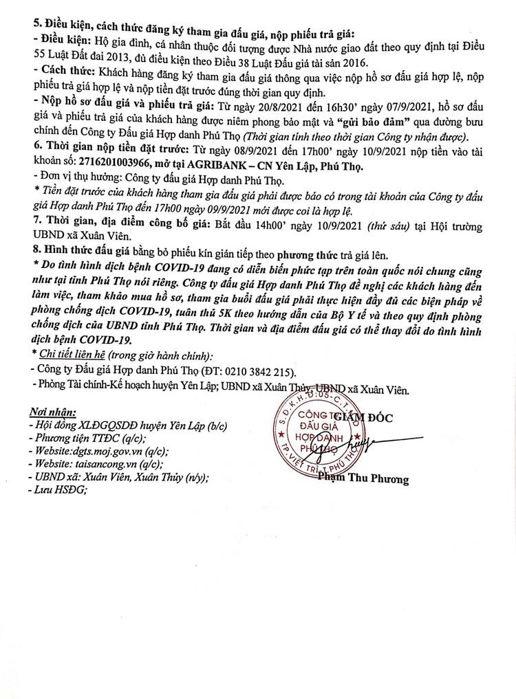 Ngày 10/9/2021, đấu giá quyền sử dụng 17 ô đất tại huyện Yên Lập, tỉnh Phú Thọ ảnh 3
