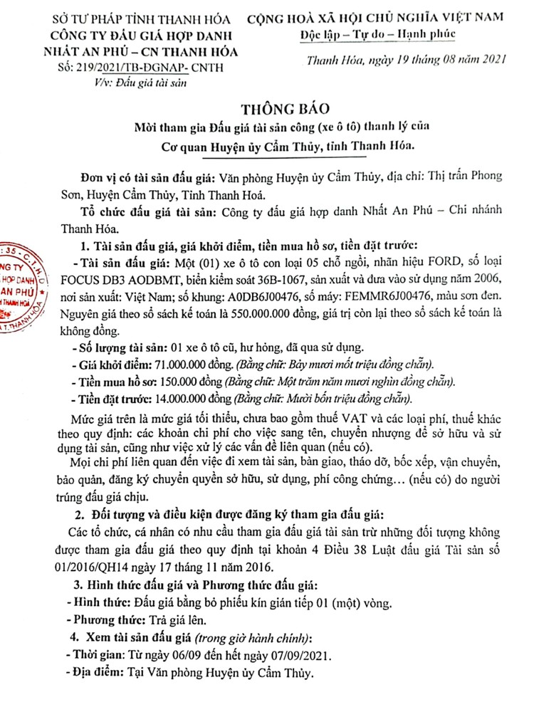 Ngày 11/9/2021, đấu giá xe ô tô FORD tại tỉnh Thanh Hóa ảnh 3