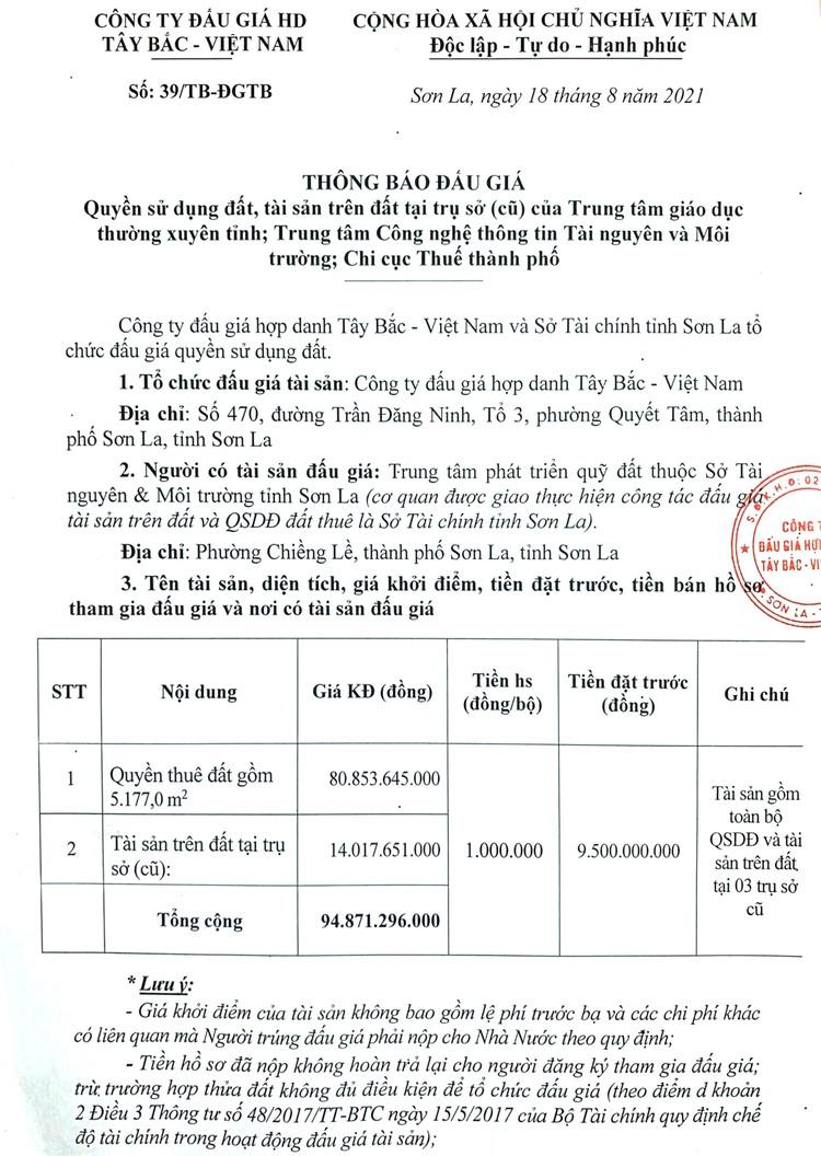 Ngày 17/9/2021, đấu giá quyền sử dụng 5.177 m2 đất tại thành phố Sơn La, tỉnh Sơn La ảnh 2