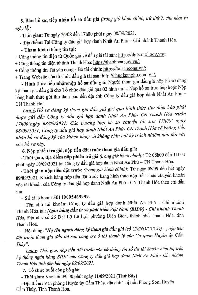 Ngày 11/9/2021, đấu giá xe ô tô FORD tại tỉnh Thanh Hóa ảnh 4