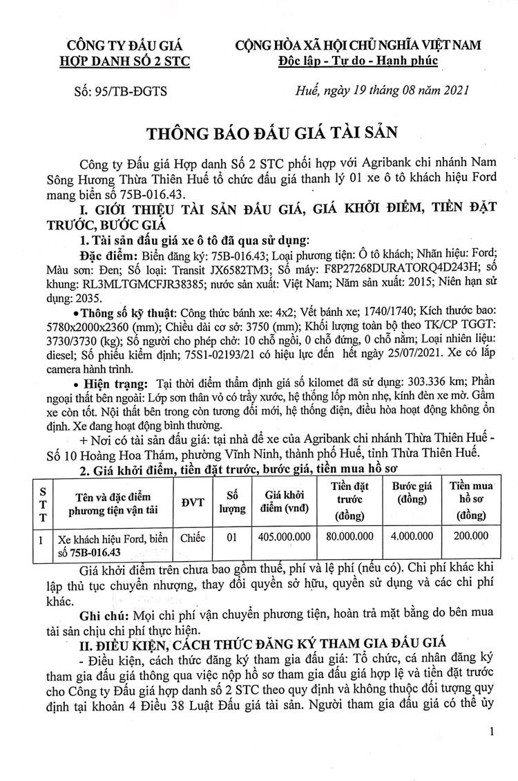 Ngày 31/8/2021, đấu giá xe ô tô Ford tại tỉnh Thừa Thiên Huế ảnh 2