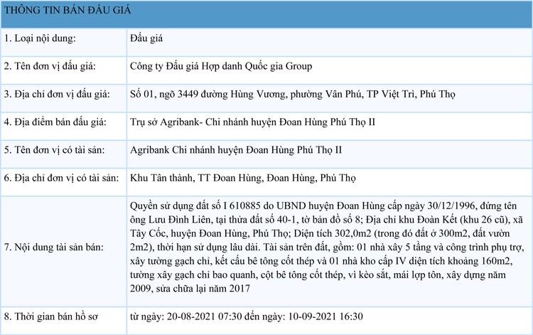 Ngày 13/9/2021, đấu giá quyền sử dụng đất tại huyện Đoan Hùng, Phú Thọ ảnh 1