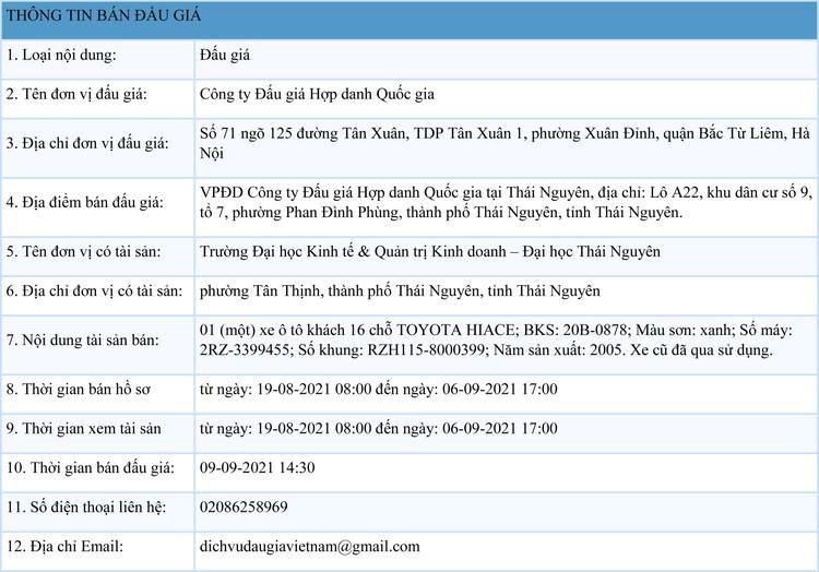 Ngày 9/9/2021, đấu giá xe ô tô TOYOTA HIACE tại tỉnh Thái Nguyên ảnh 1
