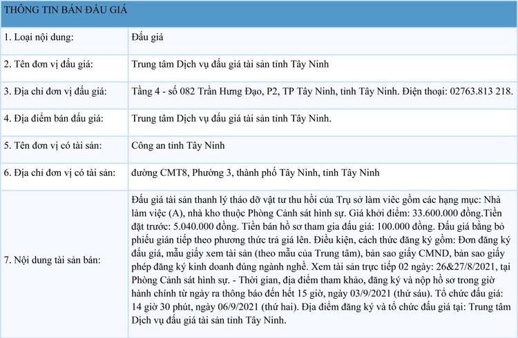 Ngày 6/9/2021, đấu giá tài sản thanh lý tháo dỡ vật tư thu hồi tại tỉnh Tây Ninh ảnh 1