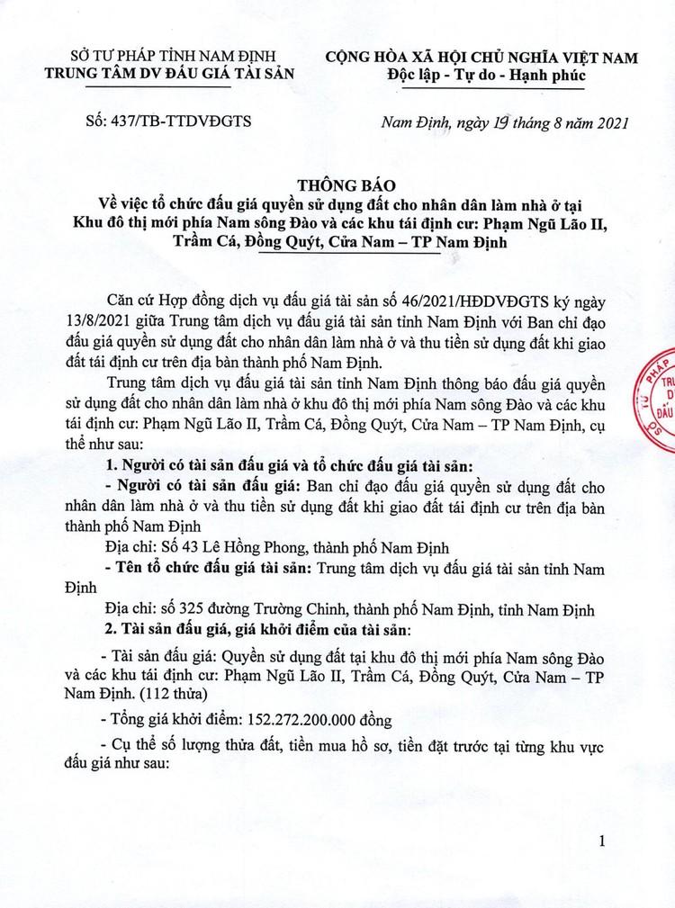 Ngày 12/9/2021, đấu giá quyền sử dụng 112 thửa đất tại TP.Nam Định, tỉnh Nam Định ảnh 2