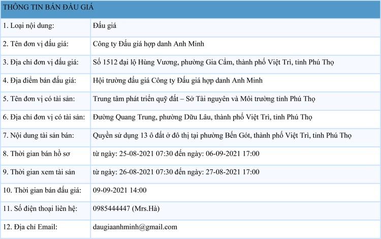 Ngày 9/9/2021, đấu giá quyền sử dụng 13 ô đất tại thành phố Việt Trì, tỉnh Phú Thọ ảnh 1