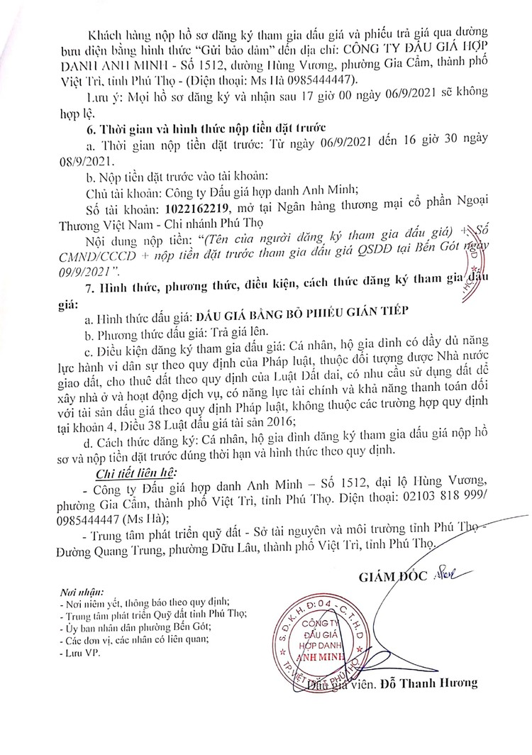 Ngày 9/9/2021, đấu giá quyền sử dụng 13 ô đất tại thành phố Việt Trì, tỉnh Phú Thọ ảnh 4