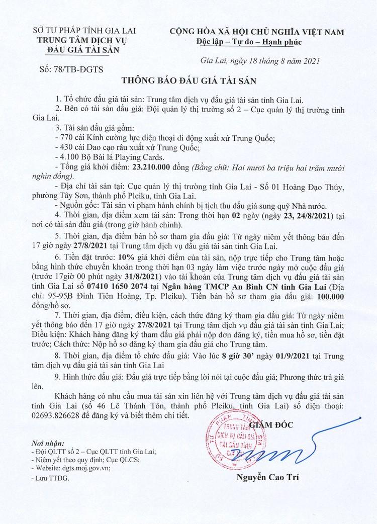 Ngày 1/9/2021, đấu giá tài sản vi phạm hành chính tại tỉnh Gia Lai ảnh 2