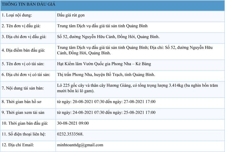 Ngày 30/8/2021, đấu giá lô 225 gốc cây và thân cây Hương Giáng tại tỉnh Quảng Bình ảnh 1