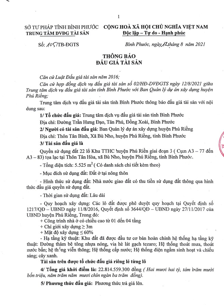 Ngày 16/9/2021, đấu giá quyền sử dụng 22 lô đất tại huyện Phú Riềng, tỉnh Bình Phước ảnh 3