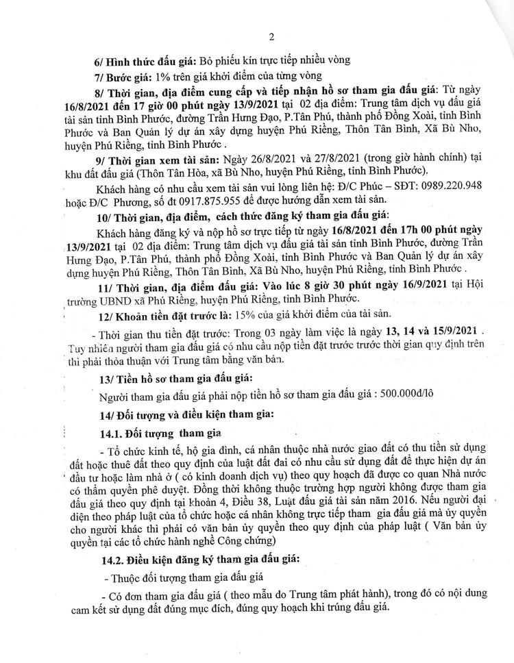 Ngày 16/9/2021, đấu giá quyền sử dụng 22 lô đất tại huyện Phú Riềng, tỉnh Bình Phước ảnh 4