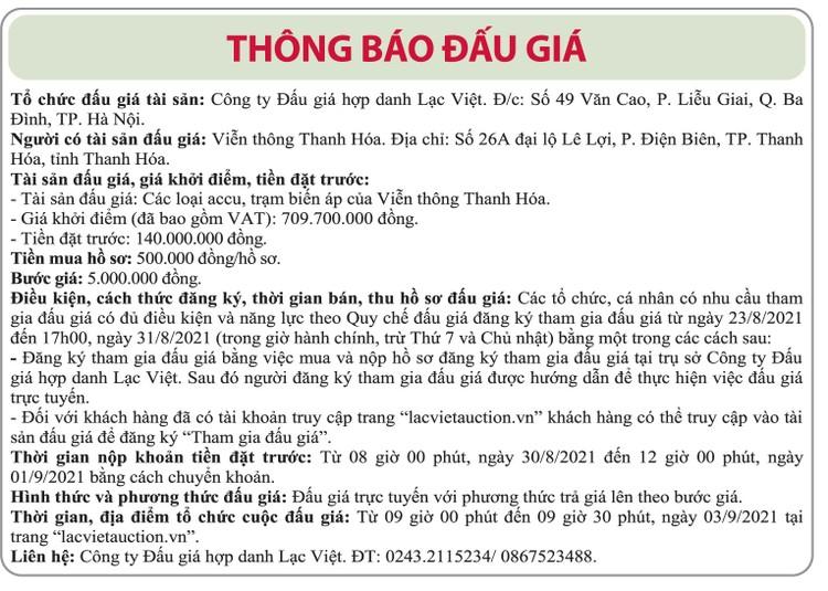 Ngày 3/9/2021, đấu giá các loại accu, tram biến áp tại tỉnh Thanh Hóa ảnh 1