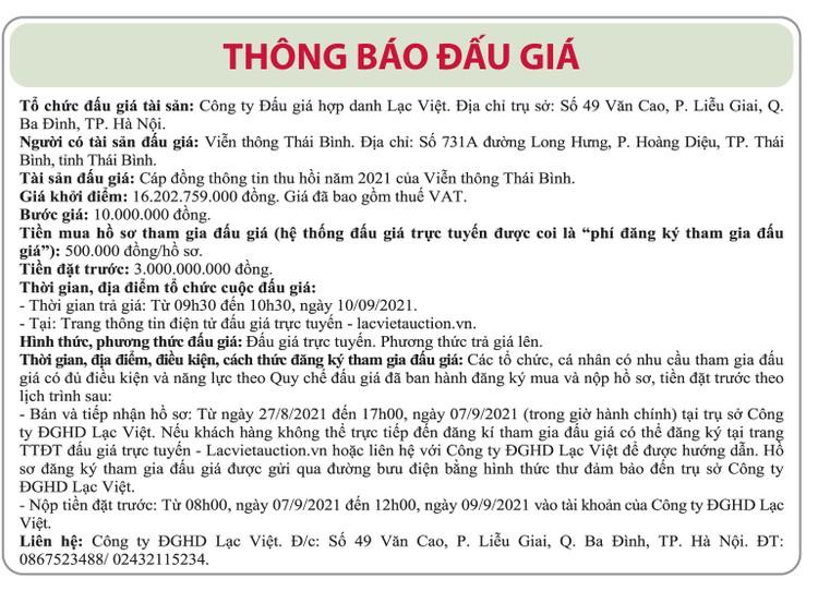 Ngày 9/9/2021, đấu giá cáp đồng thông tin thu hồi tại tỉnh Thái Bình ảnh 1