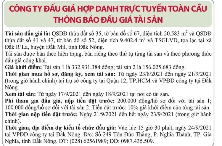 Ngày 24/9/2021, đấu giá quyền sử dụng đất tại huyện Đắk Mil, tỉnh Đắk Nông ảnh 1