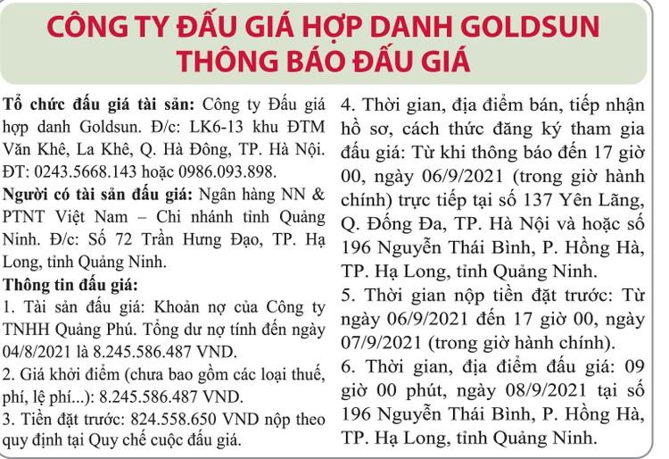 Ngày 8/9/2021, đấu giá khoản nợ của Công ty TNHH Quảng Phú tại Agribank Chi nhánh tỉnh Quảng Ninh ảnh 1