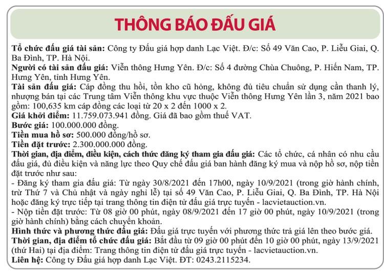 Ngày 13/9/2021, đấu giá cáp đồng thu hồi tại tỉnh Hưng Yên ảnh 1