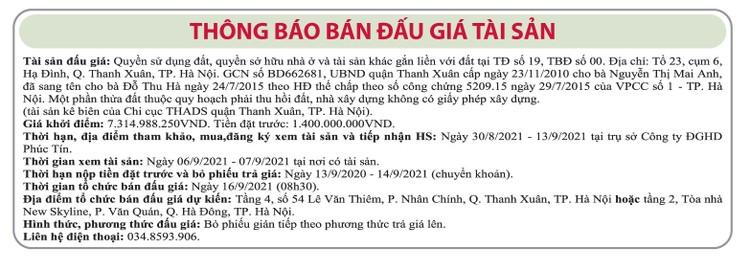 Ngày 16/9/2021, đấu giá quyền sử dụng đất tại quận Thanh Xuân, Hà Nội ảnh 1