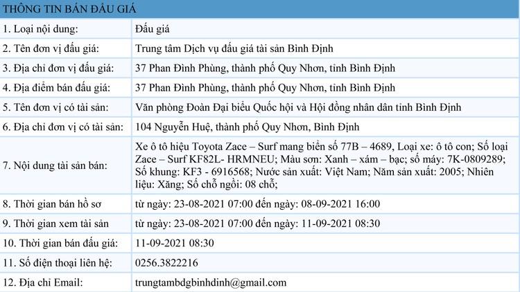 Ngày 27/8/2021, đấu giá xe ô tô Toyota Zace tại tỉnh Bình Định ảnh 1