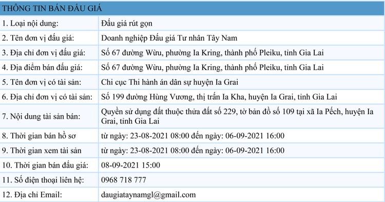 Ngày 8/9/2021, đấu giá quyền sử dụng 4.851 m2 đất tại huyện Ia Grai, tỉnh Gia Lai ảnh 1