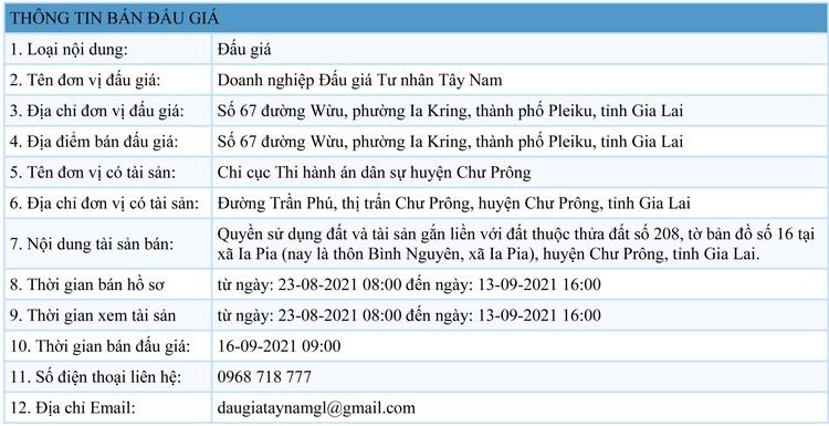 Ngày 16/9/2021, đấu giá quyền sử dụng 1.126 m2 đất tại huyện Chư Prông, tỉnh Gia Lai ảnh 1