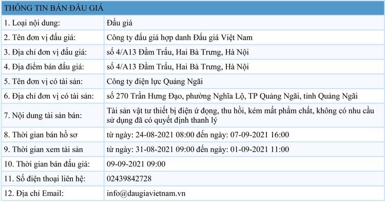 Ngày 9/9/2021, đấu giá lô vật tư thiết bị điện ứ đọng tại tỉnh Quảng Ngãi ảnh 1