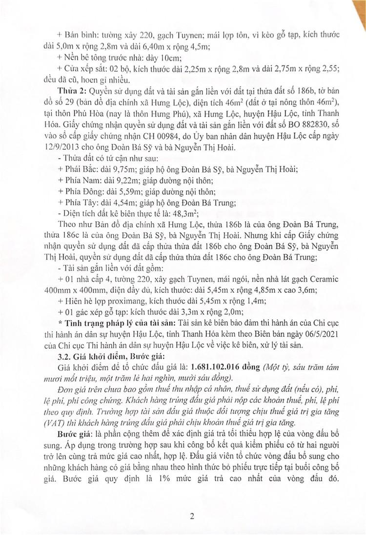 Ngày 10/9/2021, đấu giá quyền sử dụng 2 thửa đất tại huyện Hậu Lộc, tỉnh Thanh Hóa ảnh 3