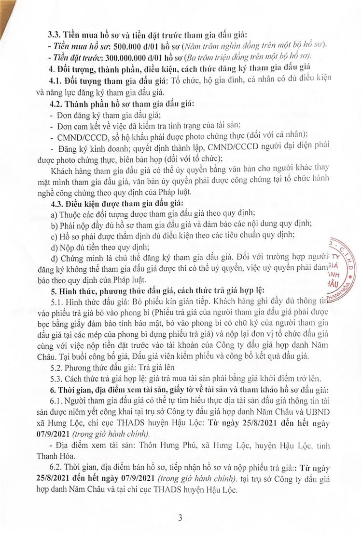 Ngày 10/9/2021, đấu giá quyền sử dụng 2 thửa đất tại huyện Hậu Lộc, tỉnh Thanh Hóa ảnh 4