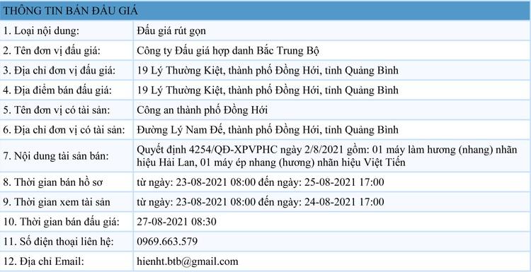 Ngày 27/8/2021, đấu giá máy làm hương tại tỉnh Quảng Bình ảnh 1