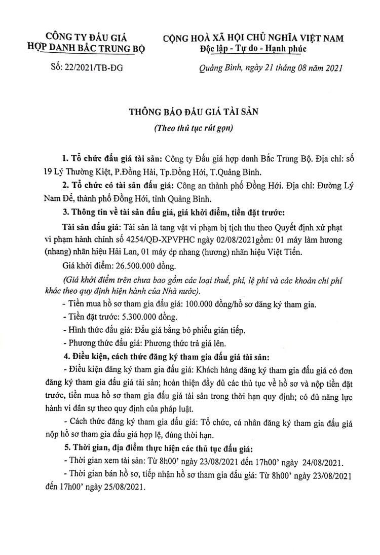 Ngày 27/8/2021, đấu giá máy làm hương tại tỉnh Quảng Bình ảnh 2