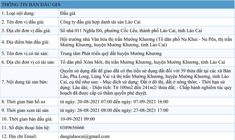 Ngày 10/9/2021, đấu giá quyền sử dụng 39 thửa đất tại huyện Mường Khương, tỉnh Lào Cai ảnh 1