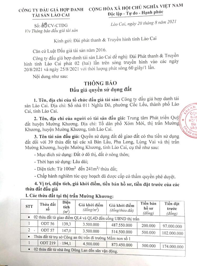 Ngày 10/9/2021, đấu giá quyền sử dụng 39 thửa đất tại huyện Mường Khương, tỉnh Lào Cai ảnh 2