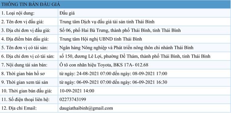 Ngày 10/9/2021, đấu giá xe ô tô Toyota tại tỉnh Thái Bình ảnh 1