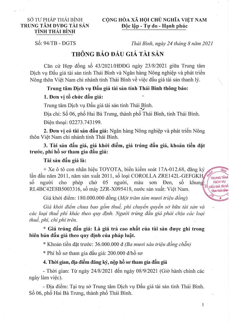 Ngày 10/9/2021, đấu giá xe ô tô Toyota tại tỉnh Thái Bình ảnh 2